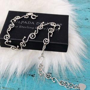 Silpada Sterling Silver Swirl Heart Anklet A0823